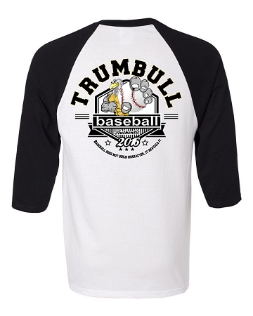 varsity imprints trumbull high school baseball logo shirt