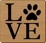 LOVE Paw Print Square Coaster Set