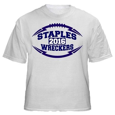 Varsity imprints staples hs football logo t shirt for Staples custom t shirts