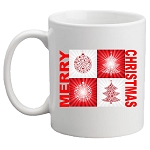 Merry Christmas With Red Ornaments and Tree Mug