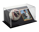 Single Angled Baseball Display Case With Playing Card Holder OVERSTOCK