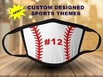 Custom Designed Sports Ball Print Face Mask - Youth / Adult Size
