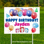 Balloons Personalized Birthday Lawn Sign