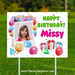 Balloons Personalized PHOTO Birthday Lawn Sign