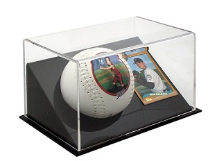 Single Angled Softball Display Case With Playing Card Holder OVERSTOCK