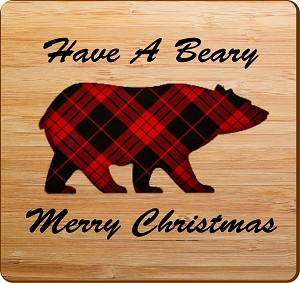 Beary Merry Christmas Square Coaster Set