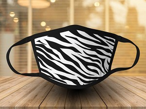 ZEBRA PRINT FACE MASK - BLACK & WHITE