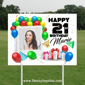 Balloons PHOTO Age Birthday Lawn Sign