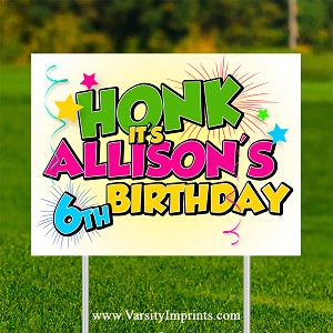 HONK Personalized Birthday Lawn Sign