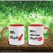 MR RIGHT - MRS ALWAYS RIGHT MUG SET