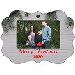 EVERGREENS & GREY PLANKS PHOTO CHRISTMAS ORNAMENT