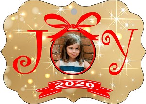 GOLD BACKGROUND PHOTO JOY CHRISTMAS ORNAMENT