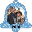 BLUE SNOWFLAKES BACKGROUND BELL ORNAMENT