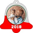 SILVER & RED BACKGROUND BELL ORNAMENT