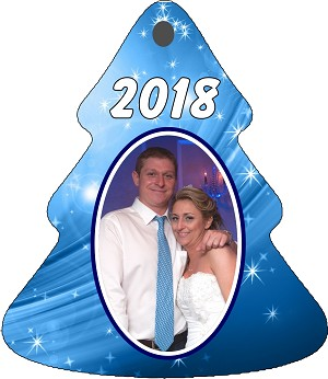 BLUE BACKGROUND TREE ORNAMENT