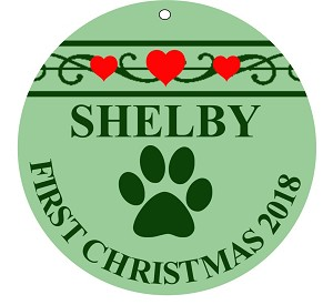 Round 3-inch Pet's First Christmas Ornament